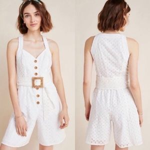 Anthropologie NEW Lace Eyelet Romper Sz 14 Large